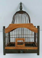 """Bird Cage Wood and Wire Frame Dome Top 16"""" Tall 10"""" x 6.5"""" with Metal Tray"""