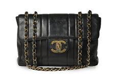 Chanel Vintage Classic Jumbo Single Flap Black Bag