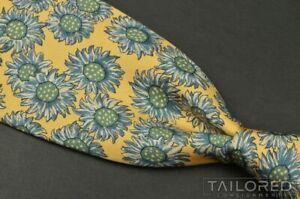 """HERMES 7287 EA Blue Floral Sunflower 100% Silk Mens Luxury Tie - 3.125"""""""