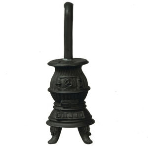 Dollhouse Miniature - 1/2 inch Pot Belly Stove - Black -  1:24 scale