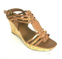 Franco Sarto Congac Brown Tan Sandals Strappy Platform Cork Wedge Size 10