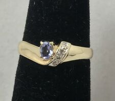 Natural Iolite & Diamond Accent 10K Yellow Gold Ring Size 7