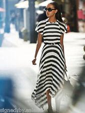 Karen Millen Bold Stripe Fluid Dip Hem Slinky Jersey Evening Maxi Dress 6 34