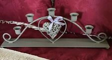 5 ARM CANDELABRA WITH WICKER HEART AND BALL FEET #G/B