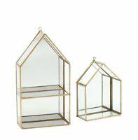 Glass/Brass Display Cabinet With Mirror Backing Geometric House Shape / Shelf