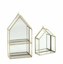 Glass/Brass Display Cabinet With Mirror Backing Geometric House Shape / Shelf