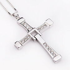 "Fast and Furious Men's 925 Sterling Silver BIG Cross Pendant Necklace 20"" real"
