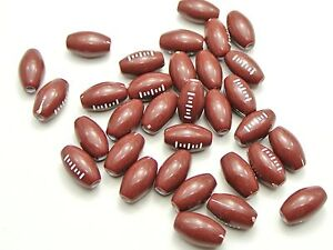 100 Brown and White Oval American Football Acrylic Ball Beads 15X9mm Kids Craft