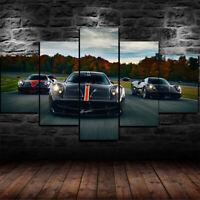 Framed Pagani Huayra Sports Car Poster 5 Piece Canvas Print Wall Art Decor