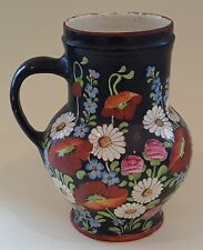 Black glaze hand painted flower vintage Victorian antique arge tankard mug