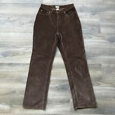 L.L. Bean Women's Pants Size 8 Brown Velvet Velour Stretchy Straight Leg