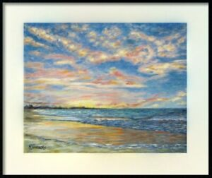 Giclee Print Sunset on the Beach, The Bahamas Landscape Painting Wall Fine Art