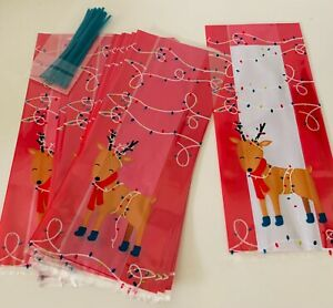 Pack of 20 CHRISTMAS CELLOPHANE TREAT SWEET Goodie Bags festive Rudolph & TIES