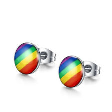 Pride Stainless Steel Rainbow Ear Studs Earrings Weave Lesbian