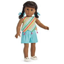 "American Girl MELODY PLAY OUTFIT for 18"" Dolls Summer Blue Striped Clothes NEW"