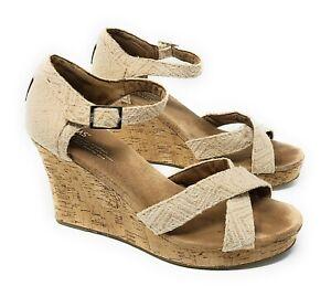 Women's Toms High Wedge Lien Cork Sandal Strap Size 10