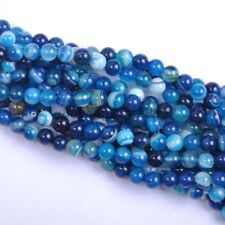 "Round Shape Blue Sea Agate Gemstone Charms Loose Spacer Beads DIY 4mm 15"" Hot"