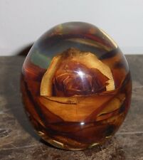 """Vintage Lucite Dried Rose Paperweight 2.5"""""""