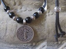 Tree of Life Necklace Leather Black Unisex Tree Wood Chain New Necklace Leather