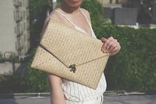 "NEW beige handmade straw envelope clutch unique and stylish 8.5 *12"""
