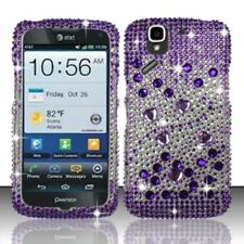 AT&T Pantech Flex Crystal Diamond BLING Hard Case Snap Phone Cover Purple Silver