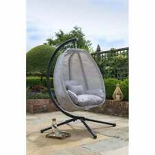 New Grey Cocoon Hanging Egg Chair Swing Textilene Garden Furniture In Or Outdoor