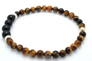 Mens Bead Bracelet Tiger's Eye and Black Onyx with 925 Sterling Silver Handmade