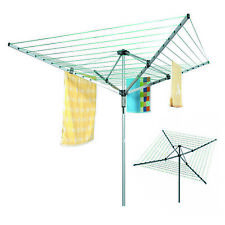 4 ARM GARDEN ROTARY AIRER CLOTHES WASHING LINE DRYER FOLDING OUTDOOR DRYER 50M