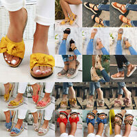 Women's Flatform Sandals Bow-Knot Ankle Strap Summer Beach Casual Slides Shoes