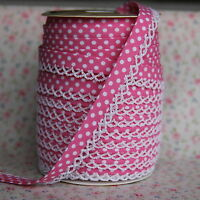 3m 12mm Mid Pink Polka Dot Bias Binding with White Picot Lace Edge, Trim