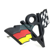 V8 Germany DE Flag Black Chrome Metal Front Grille Emblem Badge For Volkswagen