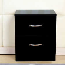 New Riano Bedside Cabinet Black 2 Drawer Metal Handles Runners Bedroom