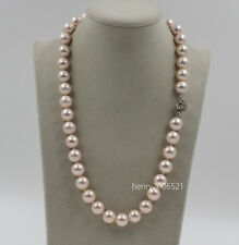 "Stunning  Delicate 12mm pink southsea Shells Pearl Necklace 20"" Wedding"