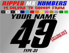 RIPPED NAME MX NUMBER PLATE DECALS MOTOCROSS STICKERS RACING GRAPHICS YZ KX ATV