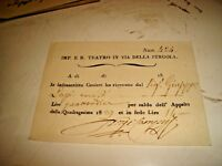 I. R. TEATRO VIA DELLA PERGOLA ricevuta saldo appalto Quadragesima 1829