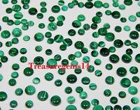 150 Crt WHOLESALE LOT NATURAL GREEN MALACHITE CALIBRATED ROUND CABOCHON GEMSTONE