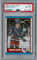 Brian Leetch 1989-90 O-Pee-Chee OPC Rookie Card! New York Rangers! PSA 8 NM MT!
