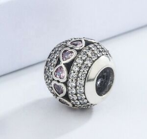 Pandora Pink Heart Silver Charm Genuine S925