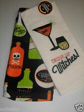 Happy Halloween Midnight Market Kitchen Dish Towels Drink up Witches Potions NWT
