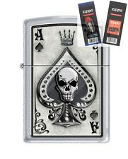 Zippo 4858 Ace of Spades Skull Lighter with *FLINT & WICK GIFT SET*