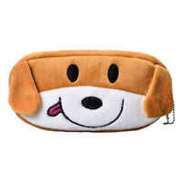U9D4 Kids Cartoon Pencil Case Plush Large Pen Bag Cosmetic Makeup Storage dog PK