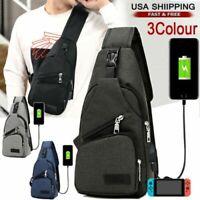 Men's Chest Bag Shoulder Sling Pack USB Charging Port Sports Crossbody Handbag