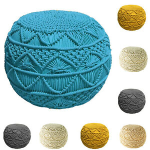 Teal Footstool 50 CM Knitted Pouffe Large Braided Beanbag Ottoman Stool Seat New