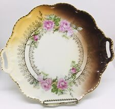Made in Germany Ornate PS Bavaria Double Handled Cake Plate with White Roses and Lots of Intricate Gold Gilding Bridal Shower Gift