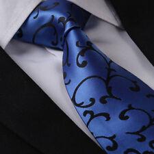 Minimalist Blue & Black Silk Tie Floral Design Gift
