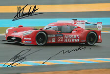 Tincknell, Krumm, Buncombe Hand Signed Nissan Nismo Photo 12x8 Le Mans 2015 4.