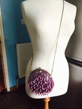 VINTAGE SEQUIN BEAD EVENING PARTY BAG CROSS SHOULDER SILVER CHAIN PURPLE LILAC