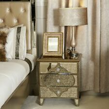 Luxury Mirrored Venetian Glass ARABIAN MIRRORED  BEDSIDE TABLE Gold Detailing