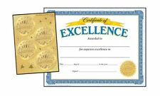 30 Excellence Certificates & 32 Award Sticker Seals Combo Pack