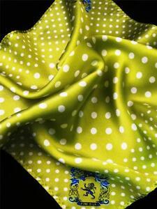 "14"" Satin Silk Pocket Square  Lime Green Churchill Polka-D3"